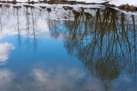 Beautiful reflection of trees and white clouds in the blue mirror surface of the river. Stok Fotoğraf