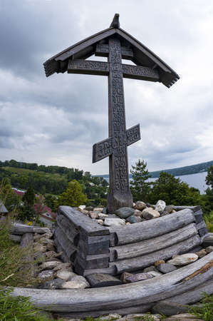 The worship cross on Mount Levitan, which is a monument to all Orthodox Christians buried here for many centuries, Plyos, Russia.