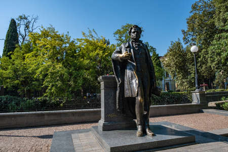 Monument to the world famous Russian poet Alexander Sergeyevich Pushkin in Yalta, Crimea.