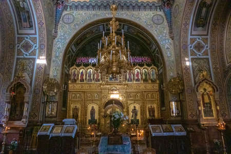 Rich decoration in the Cathedral of St. Alexander Nevsky in Yalta, Crimea.