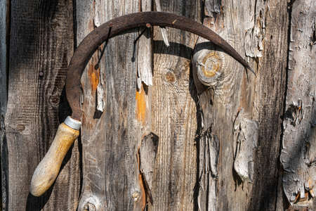 An old rusty sickle hangs on a nail driven into a wooden wall, taken in close-up.