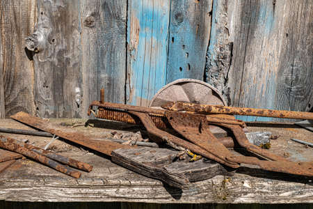 An old rusty hand saw and other metal objects on a wooden shelf against the background of a wall of boards.
