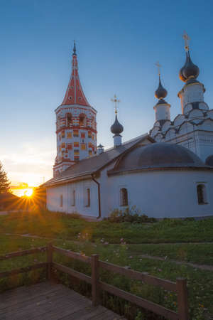 Antipievskaya Church in the rays of the setting sun in the ancient city of Suzdal, Russia. Фото со стока