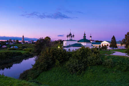 Beautiful evening landscape in the ancient Russian city of Suzdal, Russia.