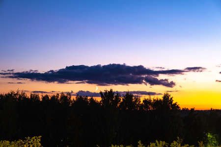 A month among dark clouds in a blue-orange sky and silhouettes of trees.