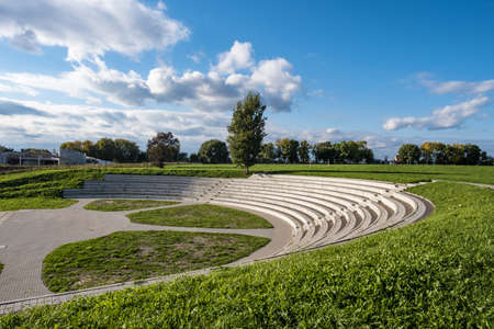 Amphitheater in the ancient city of Suzdal on a sunny day and beautiful clouds in the blue sky, Russia.