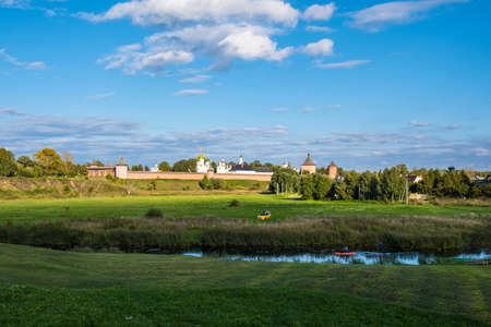 View of the Spaso-Evfimiev Monastery from the Kamenka River in the ancient city of Suzdal, Russia.