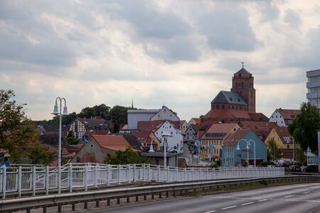 The view from the bridge to the old town and the church of Wolgast at the baltic sea