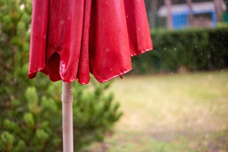 a wet red parasol in the summer rain with raindrops
