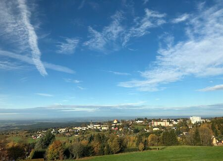 View of the Schoneck town in the Vogtland in Saxony with blue sky.