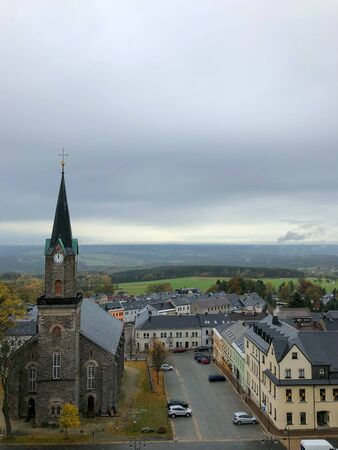 The view of Schöneck in the Vogtland and its beautiful church on a rainy day. Reklamní fotografie