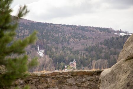 The view from the beautiful old castle Oybimn into the valley to Hain or Olbersdorf on a cloudy day