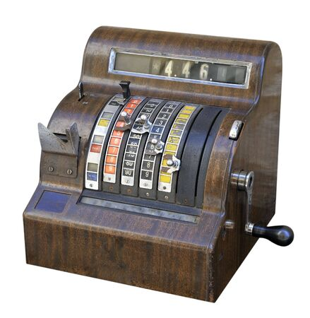 checkout: Old style checkout, isolated on white