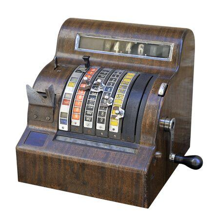 maquina registradora: Retirada de estilo antiguo, aislado en blanco