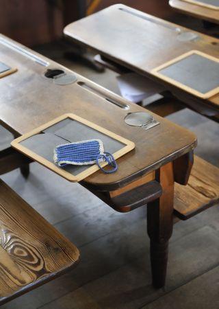 schoolroom: Old schoolroom desk and slate