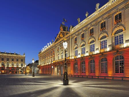 the place is outdoor: Place Stanislas, Nancy, France at dawn