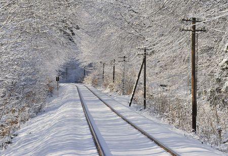 Les poteaux télégraphiques et la ligne de chemin de fer en hiver