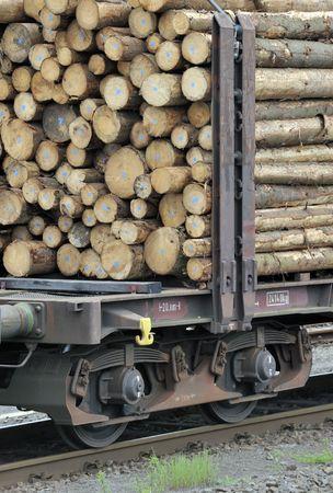logging railways: Closeup of cut logs on a wagon train Stock Photo