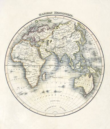 vintage world map: Map of the world, showing africa, asia, australia, south pole, dated 1840 Stock Photo