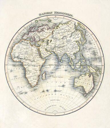 cartina africa: Mappa del mondo, mostrando di africa, asia, australia, Polo Sud, datato 1840