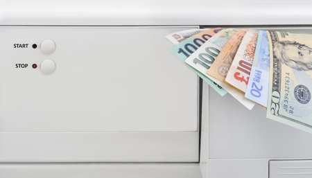 Stop money laundering concept, banknotes and washing machine photo