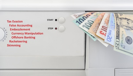 Money laundering concept, banknotes and washing machine photo