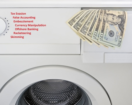 Money laundering concept, US banknotes and washing machine photo