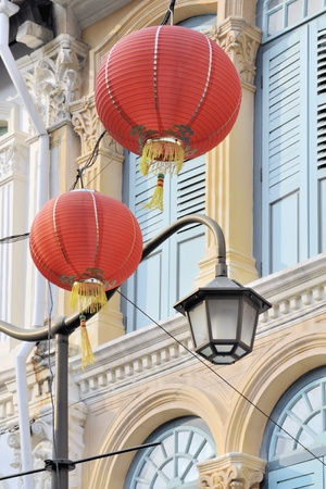 chinatown: Lanterns and traditional architecture in Chionatown, Singapore