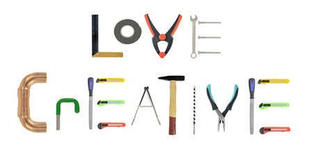 handtools: Assorted handtools on white love being creative Stock Photo