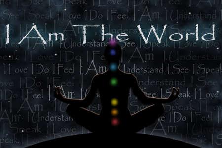 chakras: Cifra yoga Mujer contra un fondo del espacio, con los s�mbolos de los chakras, como un concepto de la unidad con el universo de texto I Am The World I Understand Veo Yo hablo Amo I Do I Feel I Am Foto de archivo