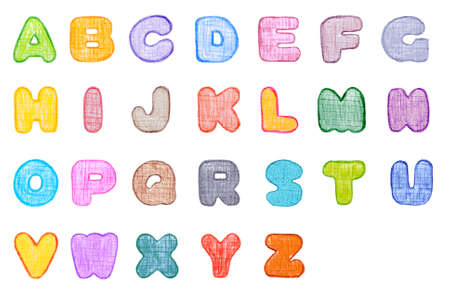Alphabet canvas textured font, made with wax crayons over white background  Every letter in different colour  photo