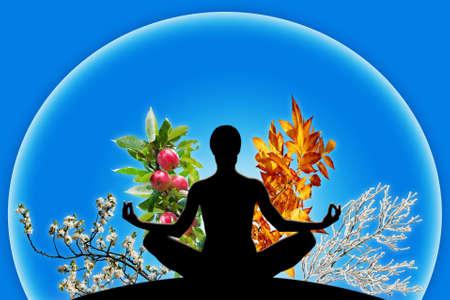 Vrouw yoga figuur in een bol met 4 verschillende branches, wat neerkomt op 4 seizoenen van het jaar de lente, zomer, herfst, winter Concept van het passeren van de tijd en het evenwicht filosofie