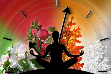 summer time: Female yoga figure against collage of pictures representing four seasons of the year  Circle of life and passing time concept  Stock Photo