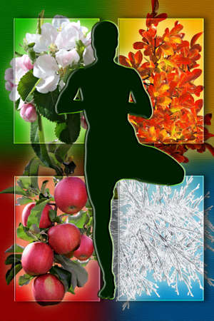 all seasons: Female yoga figure against collage of pictures representing four seasons of the year  Be healthy and sporty all year concept  Stock Photo