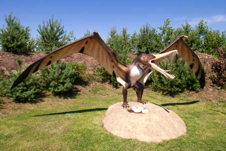 Sculpture of dinosaur  pterosaurs archosaurs  in live size  Stock fotó