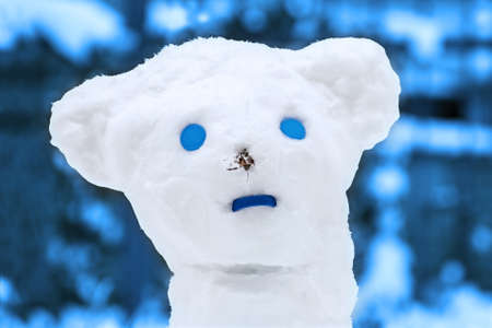 atypical: Atypical snow man on a cold winter