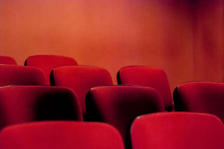 Red empty theater seats  Shallow DOF