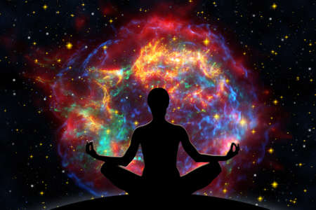 bang: Female yoga figure against  universe background with Supernova explosion