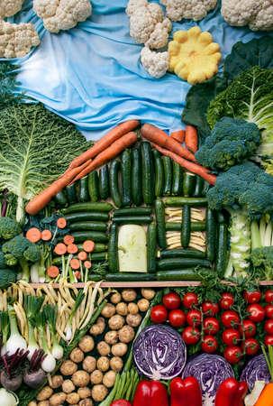 有機野菜を使った創造的な風景です。 写真素材