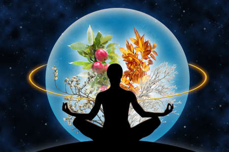 Female yoga figure against a space background and a planet (composed of four branches in different season of the year), as a concept for harmony with universe, God and power over nature.