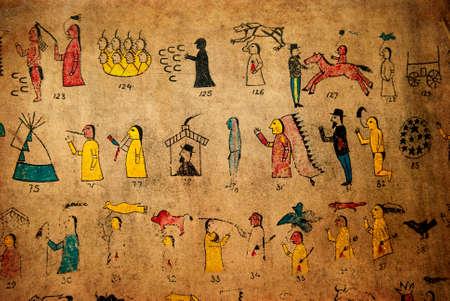 western wall: Old Indian writing calendar on cowhide.