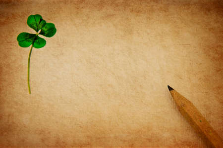 Pressed fourleaved clover on aged parchment paper with wooden pencil.