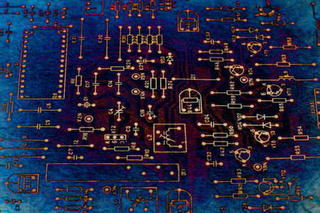 schematic diagram: Abstract tech based on electronic schematic diagram of retro television. Makro. Grunge. Stock Photo