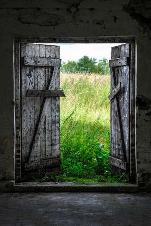 exit door: Open wood door in abandoned house. Green sunny meadow outside.