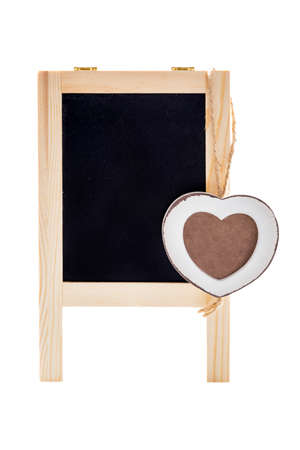 Blank Black Chalk Board With Wooden Heart Shape Frame For Photo