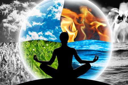 Weibliche Yoga-Figur in einer transparenten Sphäre, bestehend aus vier natürlichen Elementen (Wasser, Feuer, Erde, Luft) auf einem Hintergrund aus schwarz-weißen Elementen, als Konzept zur Kontrolle von Emotionen, Macht über Natur, Ruhe und Optimismus. Standard-Bild