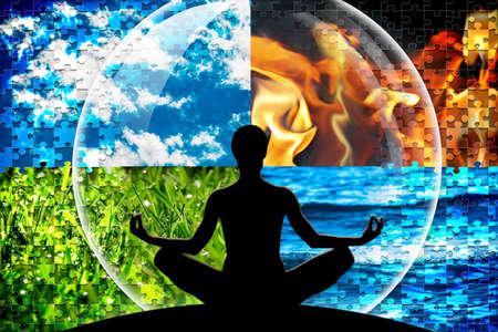 Vrouwelijke yoga figuur in een cirkel bestaande uit vier puzzel gesneden natuurlijke elementen (water, vuur, aarde, lucht) als een concept voor een open geest, innerlijke kracht, sereen.