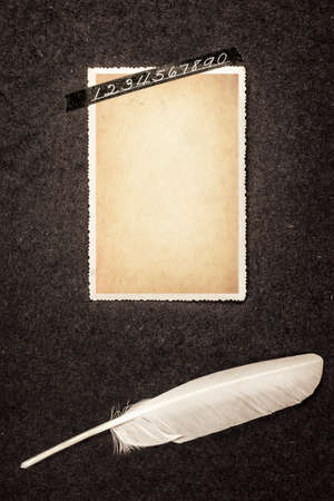 photo album: Page from old photo album with blank retro photo frame (for photo or notes) sticked with tape with numbers and lying quill pen. Grunge style.