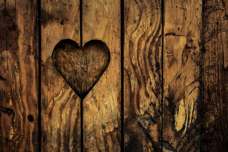 Architecture detail - love Valentines heart wooden frame with copy space.