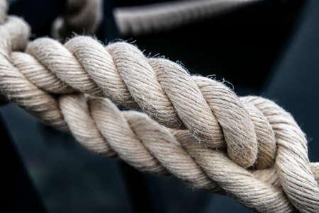 Ropes from a sailing boat, close-up.